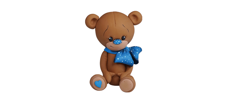 Teddy bear With Blue Ribbon – Fondant Cake Topper Tutorial