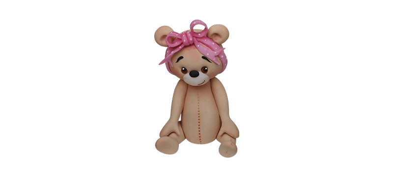 Teddy bear with a pink ribbon – Fondant Cake Topper Tutorial